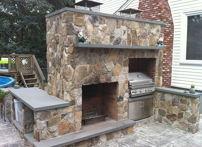 Custom Fabrication of Bluestone Mantel, Hearth, and Counter Top
