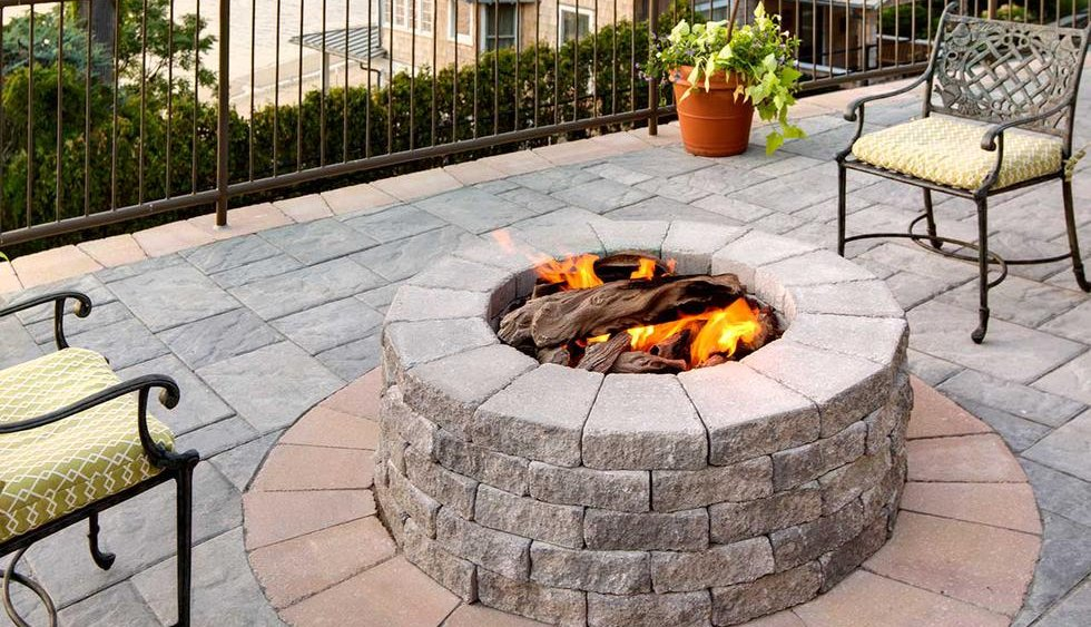 Fire pit on paving stone patio